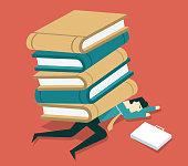 Businessman under the big book