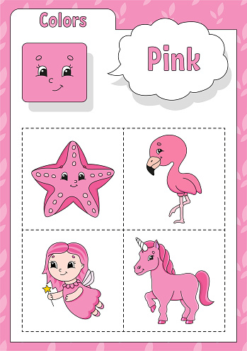 Learning colors. Pink color. Flashcard for kids. Cute cartoon characters. Picture set for preschoolers. Education worksheet. Vector illustration.