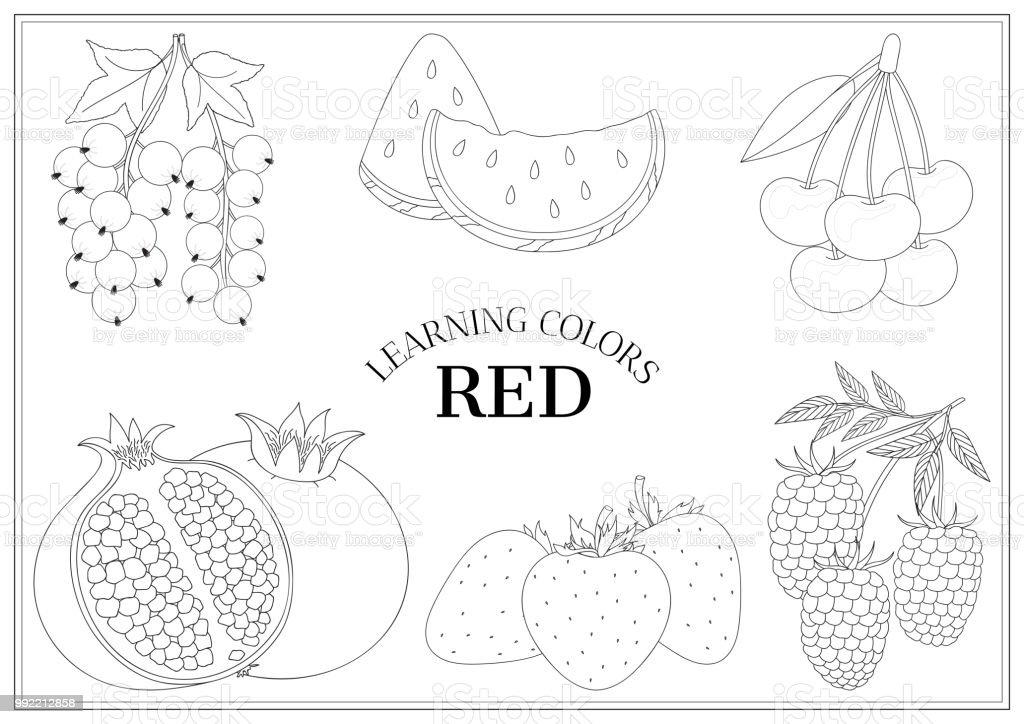Ilustración de Aprendiendo Los Colores Rojo Libro De Colorear Para ...