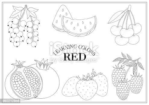 Renkler Kırmızı öğrenme çilek Anahatları Ile Okul öncesi çocuklar