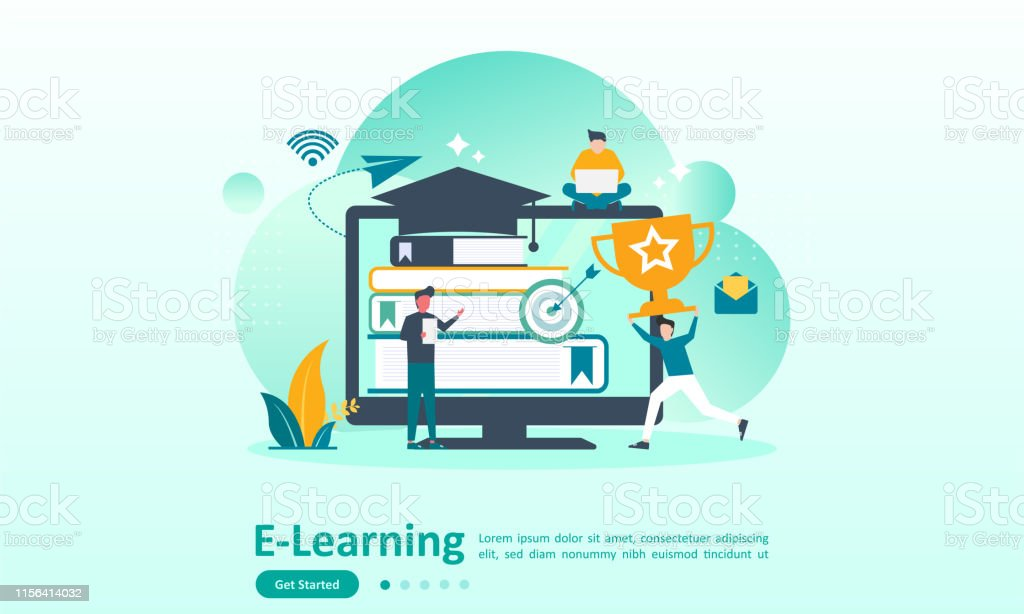 E Learning Concept Online Courses For Distance Education With People