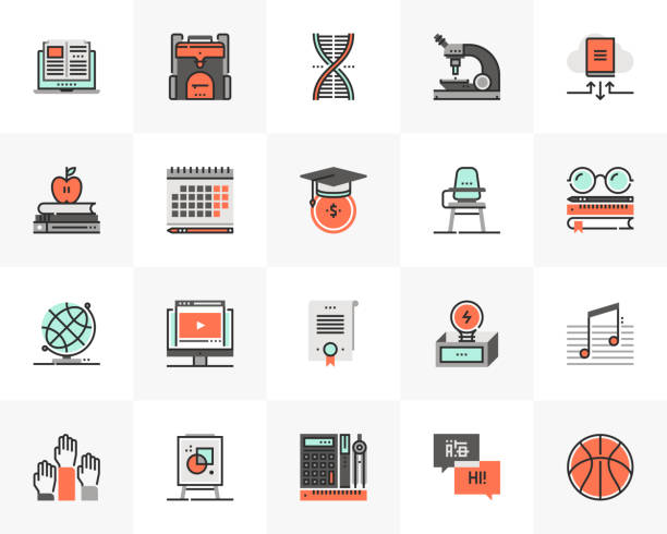 Learning Course Futuro Next Icons Pack vector art illustration