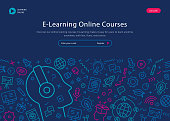 Vibrant website template depicting E learning online courses including copy space text and thin line icons.