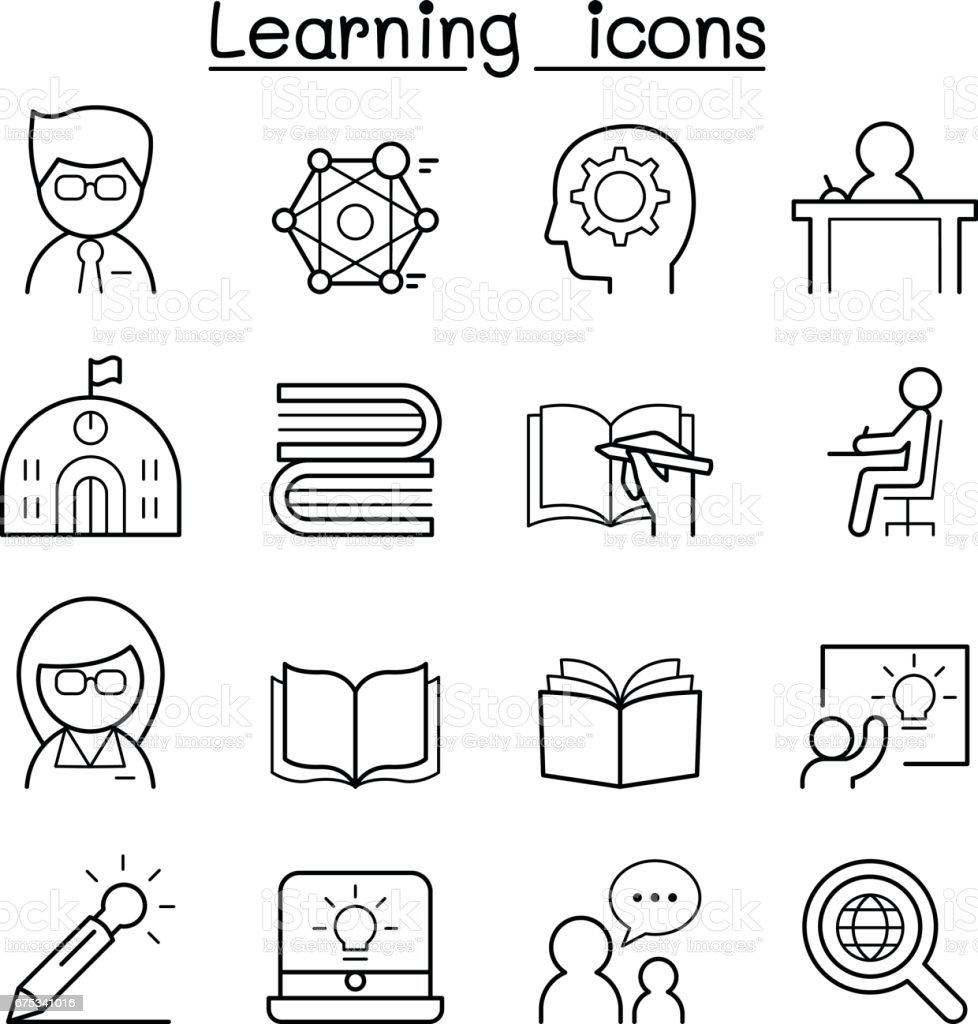 Learning & Education icon set in thin line style vector art illustration
