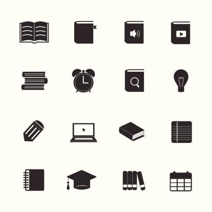 Learning education icons set