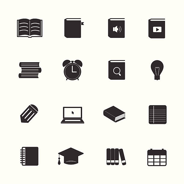 Learning education icons set Learning education icons set reference book stock illustrations