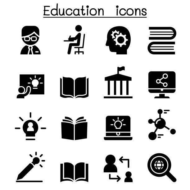 ilustrações, clipart, desenhos animados e ícones de ícones de aprendizagem e educação - aula de redação