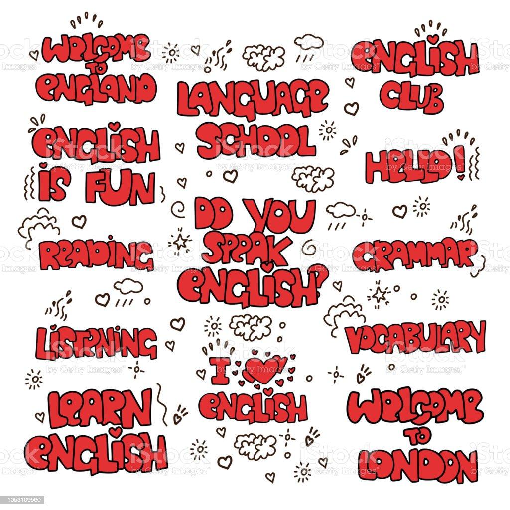 Ilustración De Aprender Inglés Letras Educativas Coloreado
