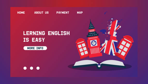 Learning English or travelling to Great Britain vector concept for web. British flag, Big Ben and telephone booth as symbols of England. Travel and learn english language webpage. vector art illustration