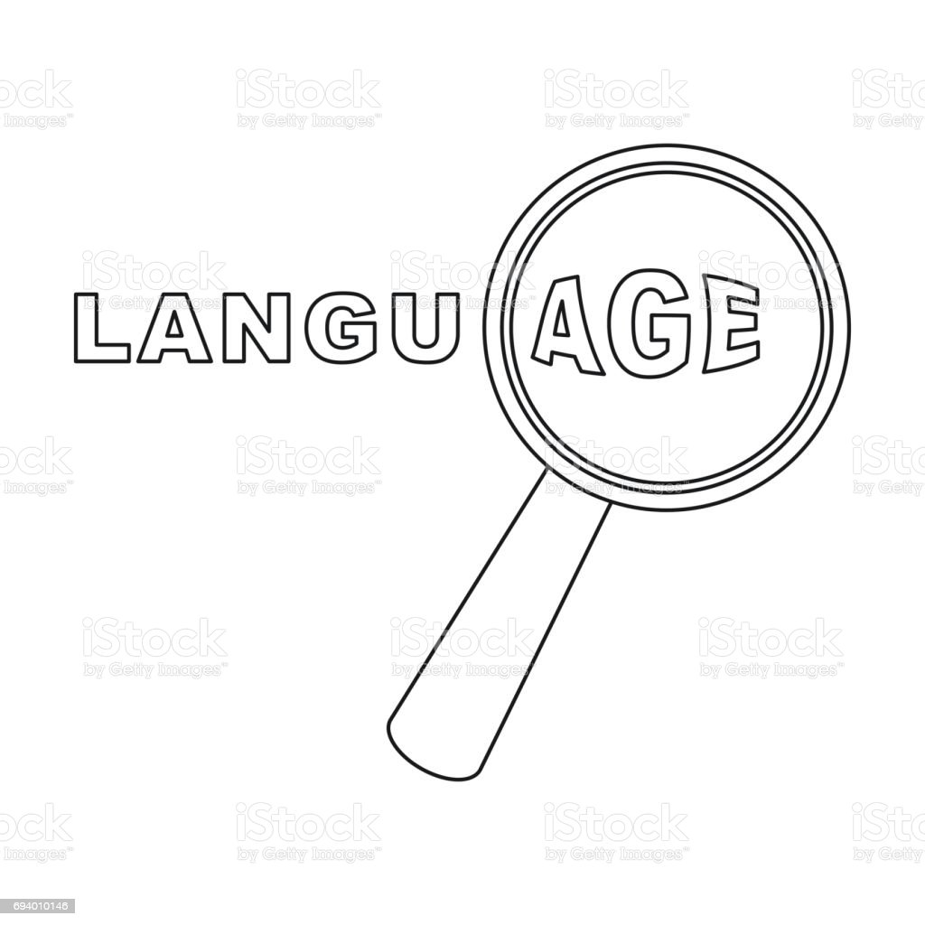 Learning Foreign Language Icon In Outline Style Isolated On White