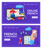 Learning French language online vector illustration. Cartoon flat human hand holding smartphone, learn French, using book or video app lessons. Mobile education, course school training technology set