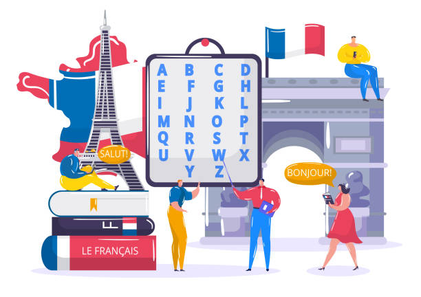 Learning French language vector illustration, cartoon flat tiny student people learn to understand French in school, education technology vector art illustration