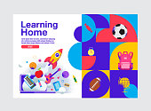 Learning Home, Education Banner Template, Vector  Illustration.