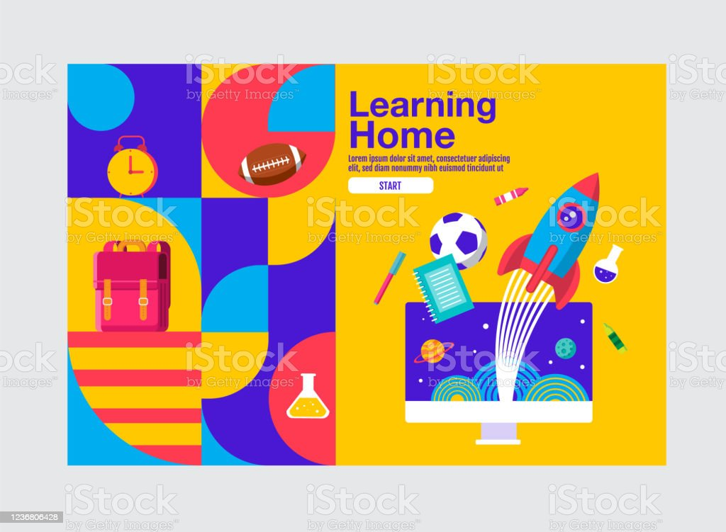 Learning Home Education Banner Template Vector Illustration Stock Illustration Download Image Now Istock
