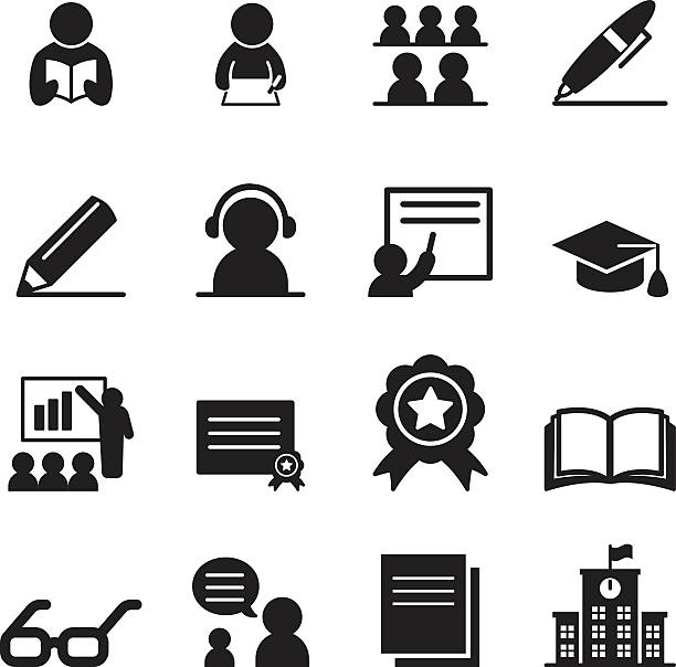 learning icon-set - schulmaterialien stock-grafiken, -clipart, -cartoons und -symbole