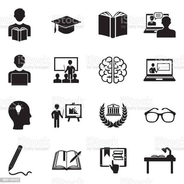 Lärande Ikoner Svart Platt Design Vektorillustration-vektorgrafik och fler bilder på Akademikermössa