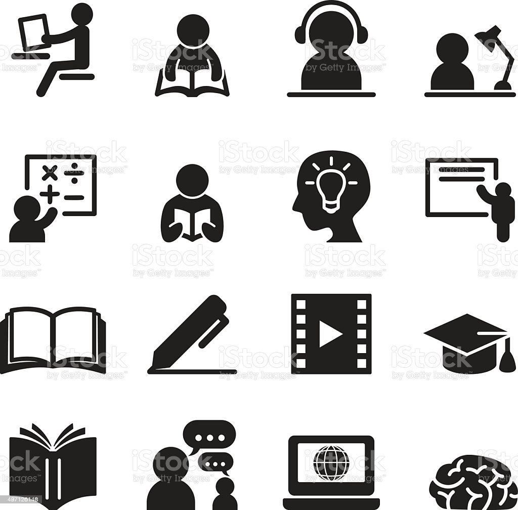 Learning icons set vector art illustration