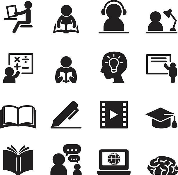 learning icons set - language class stock illustrations