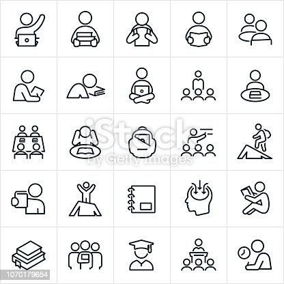 Higher education or college and university icons. The icons symbolize several themes and situations college students experience. The icons include students, teachers, learning, studying, students raising their hands, students carrying books, student with backpack, student reading a book, students on computers, study groups, backpack, lectures, graduates and test taking to name a few.