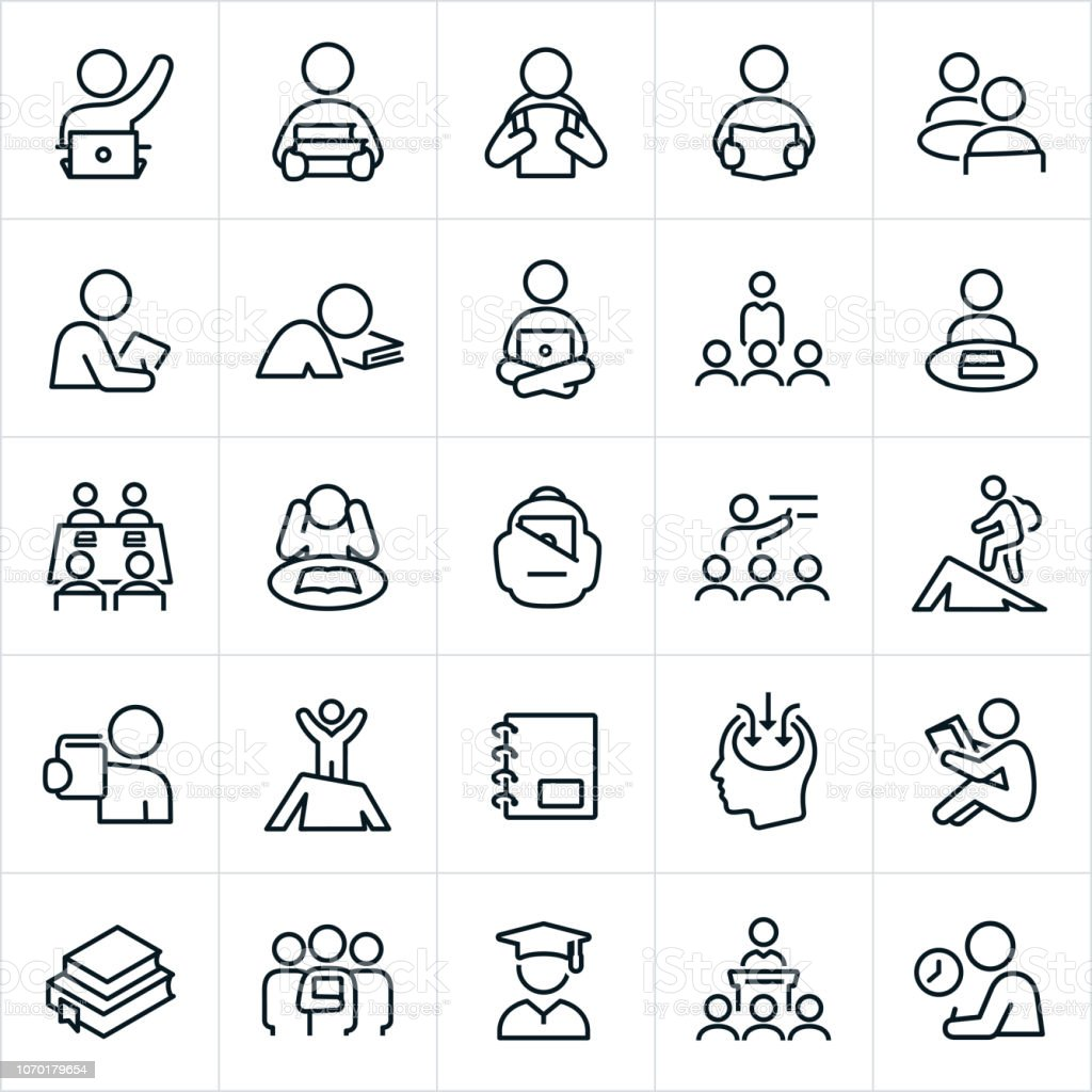 Learning Icons vector art illustration