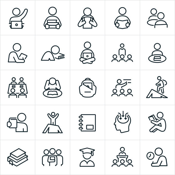 Learning Icons Higher education or college and university icons. The icons symbolize several themes and situations college students experience. The icons include students, teachers, learning, studying, students raising their hands, students carrying books, student with backpack, student reading a book, students on computers, study groups, backpack, lectures, graduates and test taking to name a few. students stock illustrations