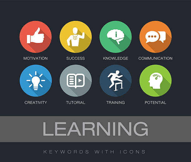 Learning keywords with icons vector art illustration