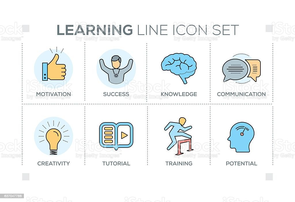 Learning keywords with line icons vector art illustration
