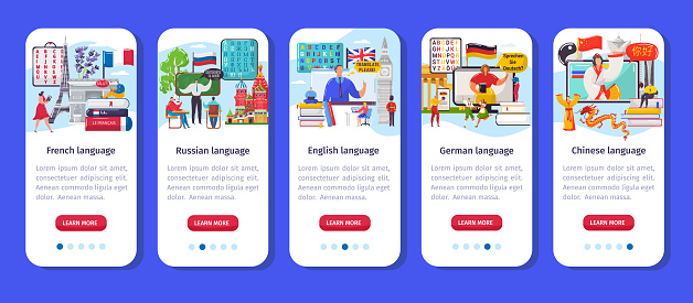 Learning language app vector illustration, crtoon flat vertical mobile smartphone application interface set for training foreign languages