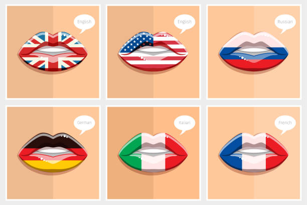fremdsprachen-konzept. - englischlernende stock-grafiken, -clipart, -cartoons und -symbole