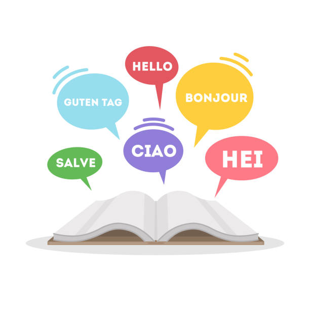 illustrazioni stock, clip art, cartoni animati e icone di tendenza di learning languages concept. - spagnolo lingua