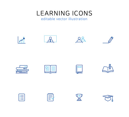 Learning line icon set