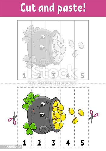 istock Learning numbers 1-5. Cut and glue. Cartoon character. Education developing worksheet. Game for kids. Activity page. Color isolated vector illustration. St. Patrick's day. 1288856408