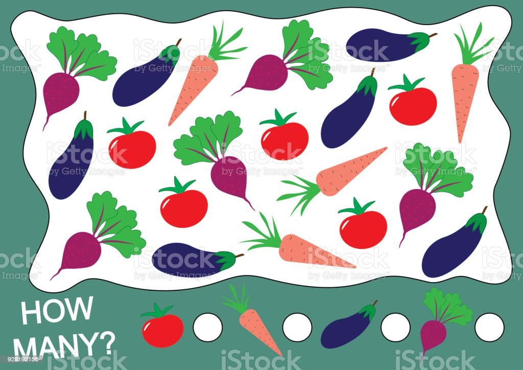 El aprendizaje de números, matemáticas, contando el juego para los niños. Cuántas verduras (tomate, remolacha, berenjena, zanahoria). Ilustración de vector. - ilustración de arte vectorial