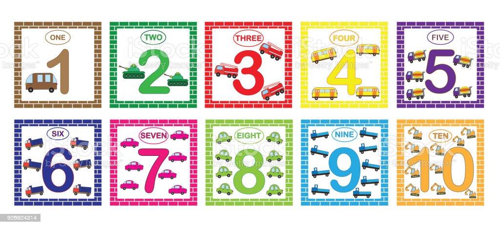 Lernen Zahlen Mathematik Mit Autos Flashkarten Mit Zahlen Von 1 Bis ...