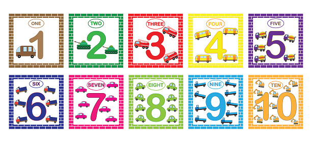 Learning numbers, mathematics with cars (transport). Flash cards with numbers from 1 to 10, set. Game for children.