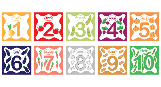 Learning numbers, mathematics with vegetables. Flash cards with numbers from 1 to 10, set. Game for children. Vector illustration.