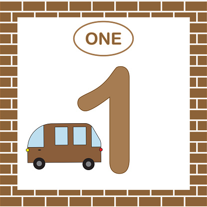 Learning numbers with transport for preschool children. Number 1 (one) with minibus. Card. Vector illustration.