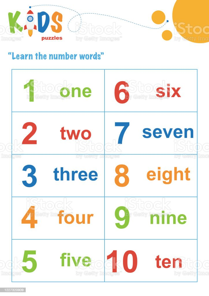 Learning Numbers Worksheet Math Worksheet Stock Illustration - Download  Image Now - IStock