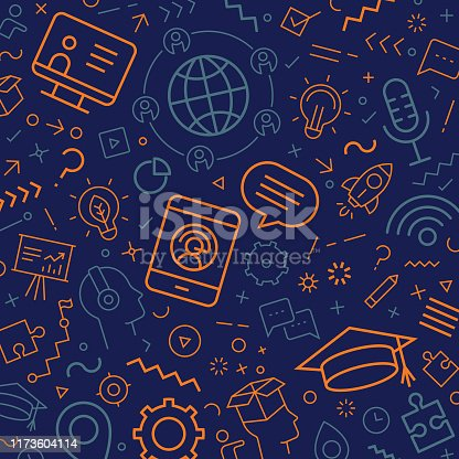 Vector pattern made from different line icons depicting E learning.