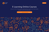 Website template depicting E learning online courses including copy space text and thin line icons.