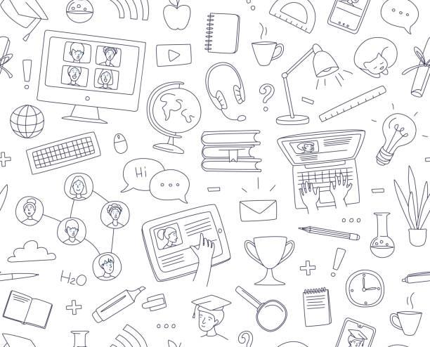 bildbanksillustrationer, clip art samt tecknat material och ikoner med lärande online, e-learning videosamtal chatt med klassen. distansutbildning - digital device classroom