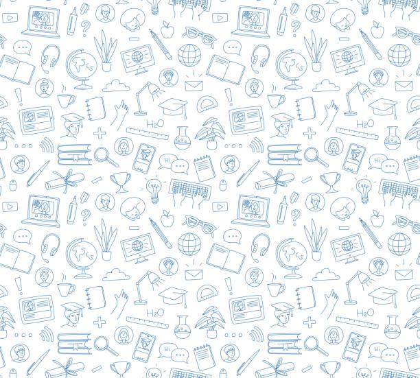 illustrazioni stock, clip art, cartoni animati e icone di tendenza di apprendimento online, chat di videochiamata di e-learning con classe. istruzione a distanza - scuola