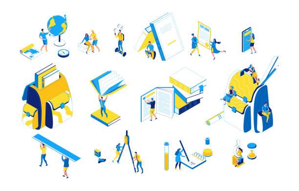 Lernen Menschen isometrischen Satz, 3D-Studenten lesen Buch, Bibliothek, Lektion lernen, zurück zum Schulkonzept, Rucksack, Absolvent mit Diplom, Schüler an der Hochschule, blau, gelbe Farbe, moderne kreative Charaktere – Vektorgrafik