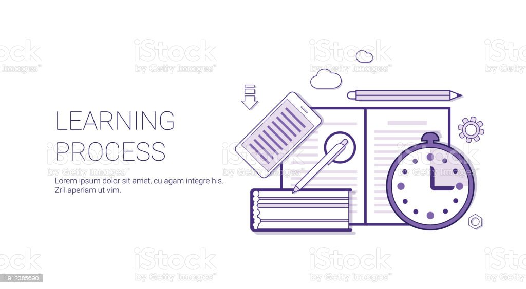 Learning Process Education Concept Banner With Copy Space Thin Line vector art illustration