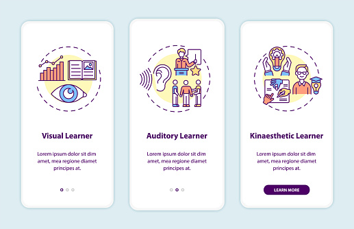 Learning styles onboarding mobile app page screen with concepts