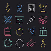 Modern learning technology and applications neon style concept outline symbols. Line vector icon sets for infographics and web designs.