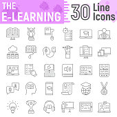E Learning thin line icon set, Online education symbols collection, vector sketches, logo illustrations, internet tutorial signs linear pictograms package isolated on white background, eps 10.