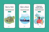 Learning to fish onboarding mobile app screen flat vector template. Hobby activity. Walkthrough website 3 steps with characters. Creative UX, UI, GUI smartphone cartoon interface, case prints set
