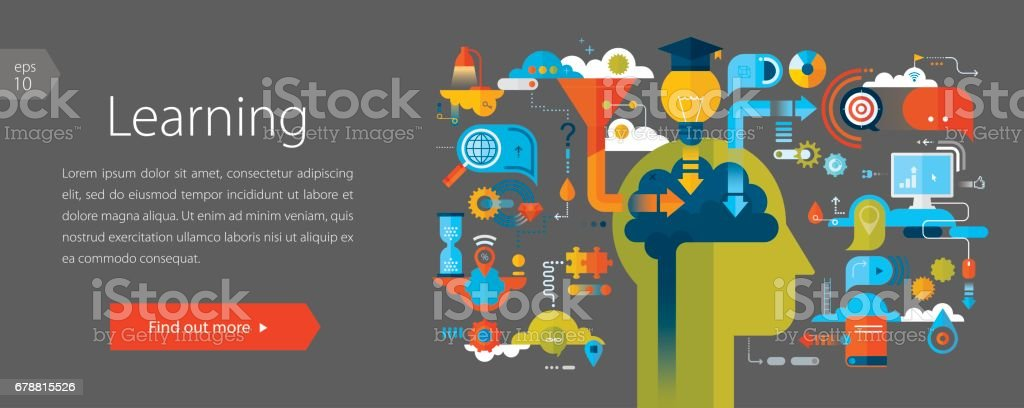 Learning Web Banner Gray Background vector art illustration