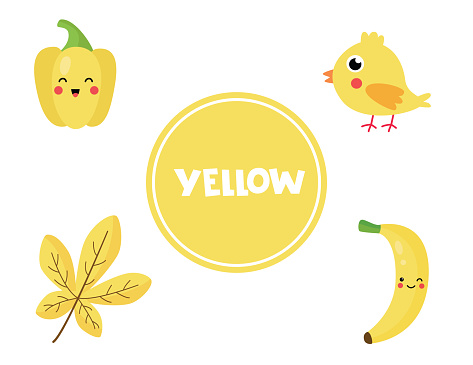 Learning yellow color for preschool kids. Educational worksheet.